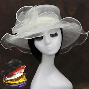 New Vintage Women Wide Brim Kentucky Derby Sun Hat Wedding Tea Party Church Cap