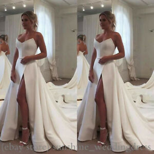 Details about Simple High Split Wedding Dresses Plus Size Sweetheart Long  Satin Bridal Gowns