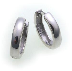 Damen-Ohrringe-Klapp-Creolen-echt-Weissgold-750-18-karat-Glanz-14-mm-Gold-Neu