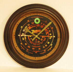 Old-Antique-Style-Zenith-Black-Dial-Wall-Clock-Vintage-Wood-Tube-Radio-Style