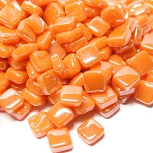 Pearlised Glass Micro Mosaic Craft Tile Orange Opal