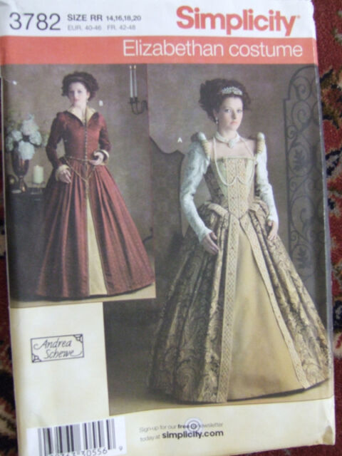 SIMPLICITY 3782 Misses Historical Elizabethan Gown Costume Sewing Pattern
