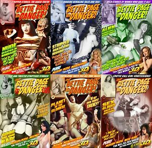 Bettie-Page-In-Danger-Photo-Comic-Book-Set-Lot-Issue-1-2-3-4-5-6-PinUp-Girl-3D