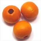 Lot de 20 perles rondes en Bois 12mm Orange