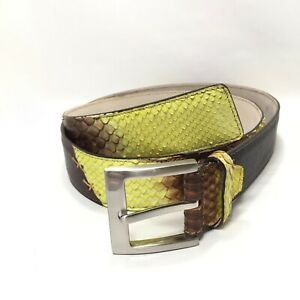 Details about Men's Vero Pitone BrownYellow Snake Print Leather Belt Extra Large