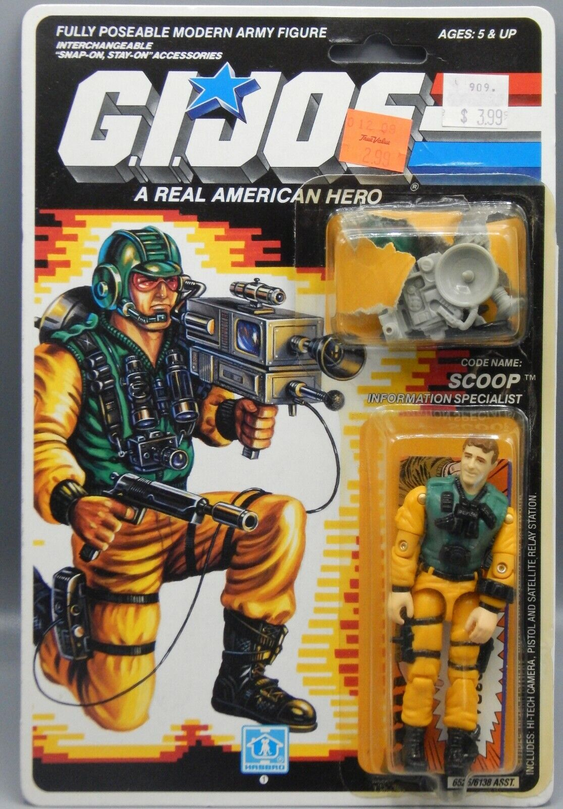Vintage 1989 Hasbro GI Joe SCOOP azione cifra completare wautodback ARAH giocattolo