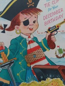 Vtg-Pirate-BOY-A-TIE-CLIP-for-Your-DECEMBER-BIRTHDAY-Rust-Craft-GREETING-CARD