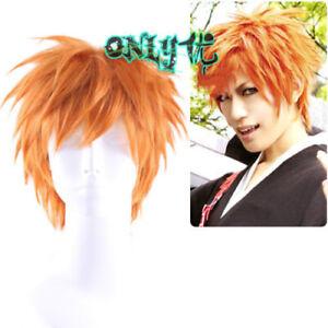 Bleach Ichigo Kurosaki Real Shot Orange Short Hair Wig Cosplay Anime Boys Ebay