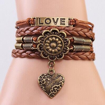 ONE Infinity LOVE Heart Flower Friendship Antique Copper Leather Charm Bracelet