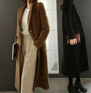 New-Womens-Lapel-Cashmere-Blend-Long-Trench-Coat-Jacket-Single-breasted-Overcoat