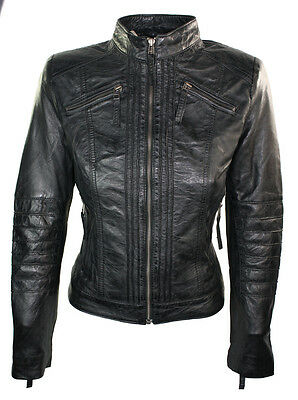 Ladies 100% leather Jacket Black Retro Biker Style Chinese Collar
