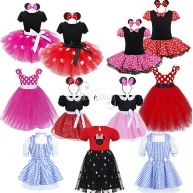 Kids Girl Pink dots Cat Kitty Costume Halloween PARTY Dress Tulle Tutu headband