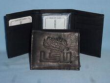LSU Louisiana Tigers University Black Genuine Leather Wallet College Trifold