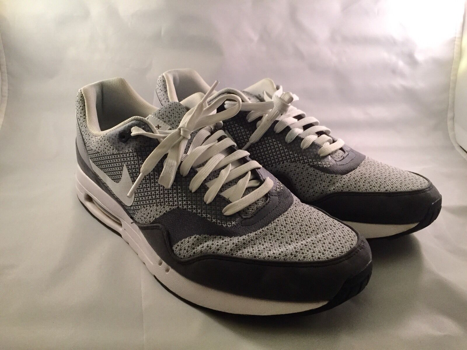 Sällsynt Nike Air Max Jacquard JCRD Ren Platinum Vit Svart 644153-001 Sz 12