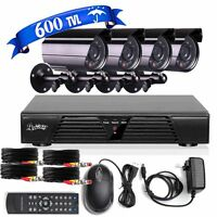 8CH Channel HD DVR 4 Cameras CCTV Outdoor Home Security Surveillance System US