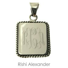 925 Sterling Silver Rectangular Rope Edge Monogram Personalized Pendant