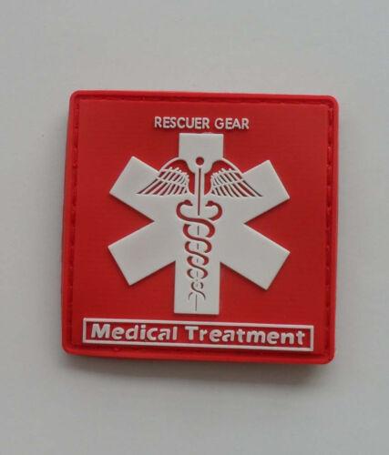 Medical Treatment.PVC 3D Rubber   Patch .Red SJK 8 Hot  RESCUER GEAR