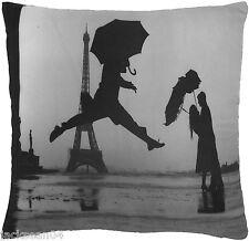 "FUNKY NOVEL LOVE DANCING PARIS FRANCE EIFFEL TOWER BLACK CUSHION COVER 18"""