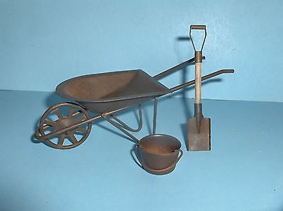 MINIATURE WHEELBARROW SHOVEL & BUCKET/ FAIRY GARDEN #1