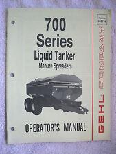 1986 Gehl 700 Series Liquid Tanker Manure Spreader Operators Manual