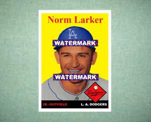 Norm Larker Los Angeles Dodgers 1958 Style Custom Baseball Art Card