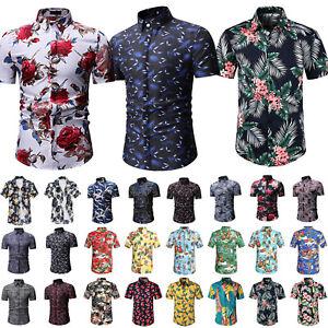 Herren-Sommer-Hemd-Hawaiihemd-Kurzarm-Hemden-Freizeithemden-Party-Shirt-Gr-S-5XL