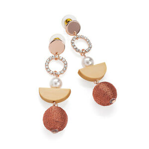 Rose-Gold-Coloured-Crystal-Drop-Earrings-with-Pearl-Effect-Ladies-Jewellery
