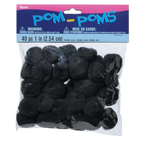 1 inch 40 Pieces Black Pom Poms Acrylic