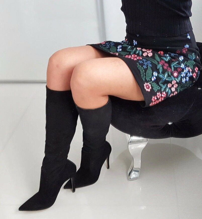 Zara Negro Knee High Tacón Stiletto XL Gamuza Cuero botas 5004 101 US 9