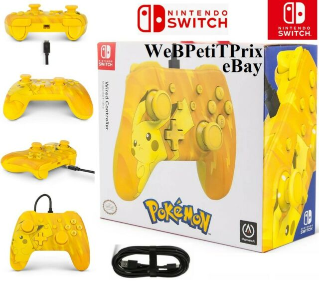 Manette filaire Jaune Pokémon Pikachu Officiel Nintendo Switch Neuf