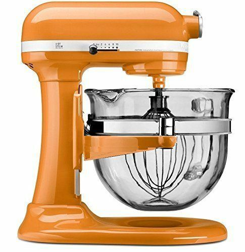Tangerine Professional 600 Design Glass Bowl *New* KitchenAid KF26M2XTG 6-Qt