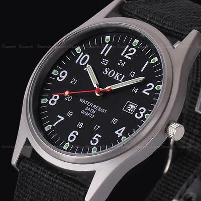 Military Army Classic Men's Date Canvas Strap Sport Quartz Wrist Watch