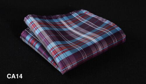CA Check Men Silk Satin Pocket Square Hanky Wedding Party Handkerchief