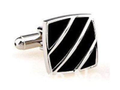 Silver Black Oval Aztec CuffLinks Formal Wear Business and Wedding Suit Shirt