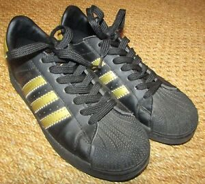Image is loading Adidas-Superstar-Sneakers-Athletic-Shoes-Black-Gold-Sz- 6ef9f878a