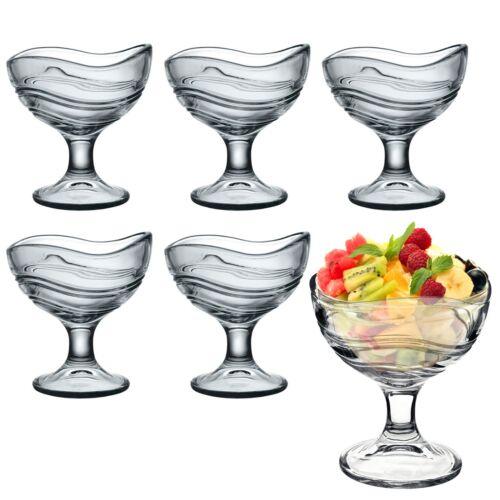 6 Bormioli Rocco Acapulco Wave Design Ice Cream Sundae Dessert Cocktail Glasses