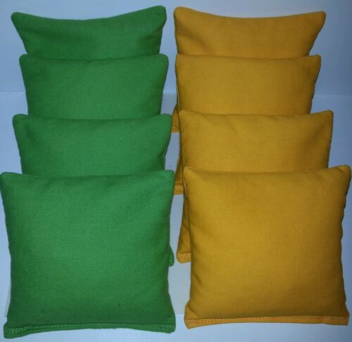 SET OF 8 ALL WEATHER LIME GREEN /& YELLOW CORNHOLE BEAN BAGS FREE SHIPPING!