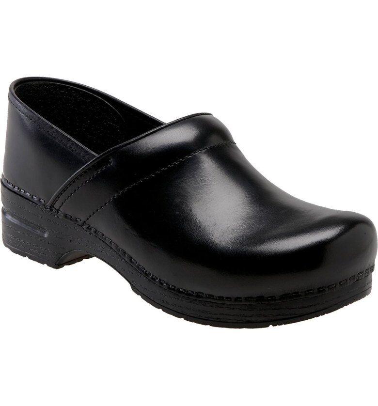 Size 9   39 Dansko Black Leather Pro XP Slip On Wedge Platform Clog Sandal  140