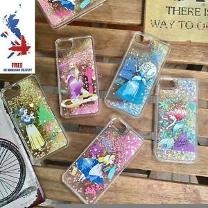 free shipping 8da5e e7196 Details about Disney Princess Moving Glitter Liquid Phone Case Cover iPhone  6s 7s Plus Alice