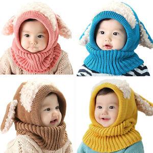 Baby Girls Boys Winter Hat Scarf Toddler Earflap Hood Balaclava Skiing Skull Cap
