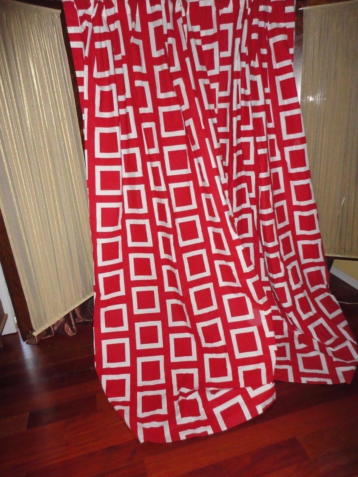 Ikea Jutta ruta rojo y blancoo geométrico (Par) Oculto ficha Paneles de cortinas 56 X 84