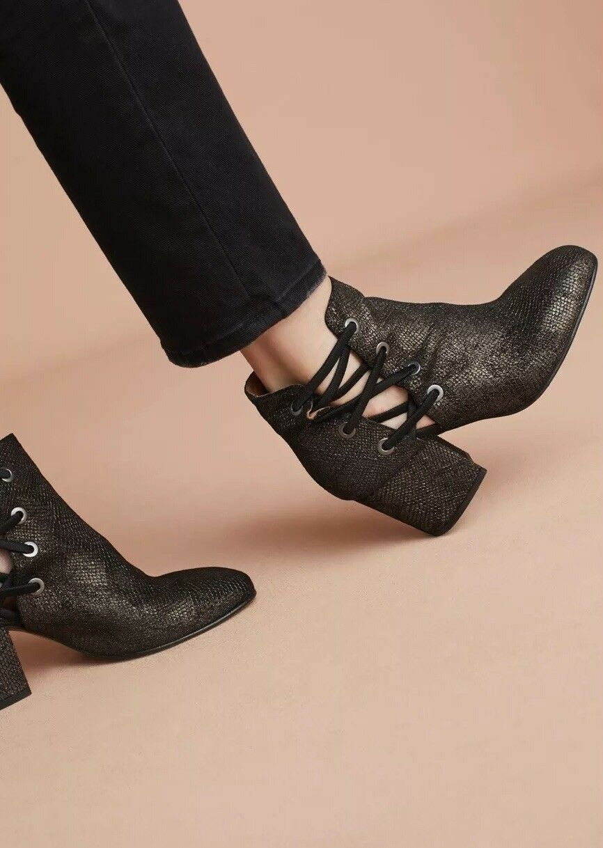 Anthropologie X Hudson Kris Metallic Side Laced Ankle Boots 8.5 39