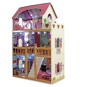 Puppenhaus-Puppenstube-Puppenmoebel-Puppenvilla-Spielzeughaus-mit-LED-Beleuchtung