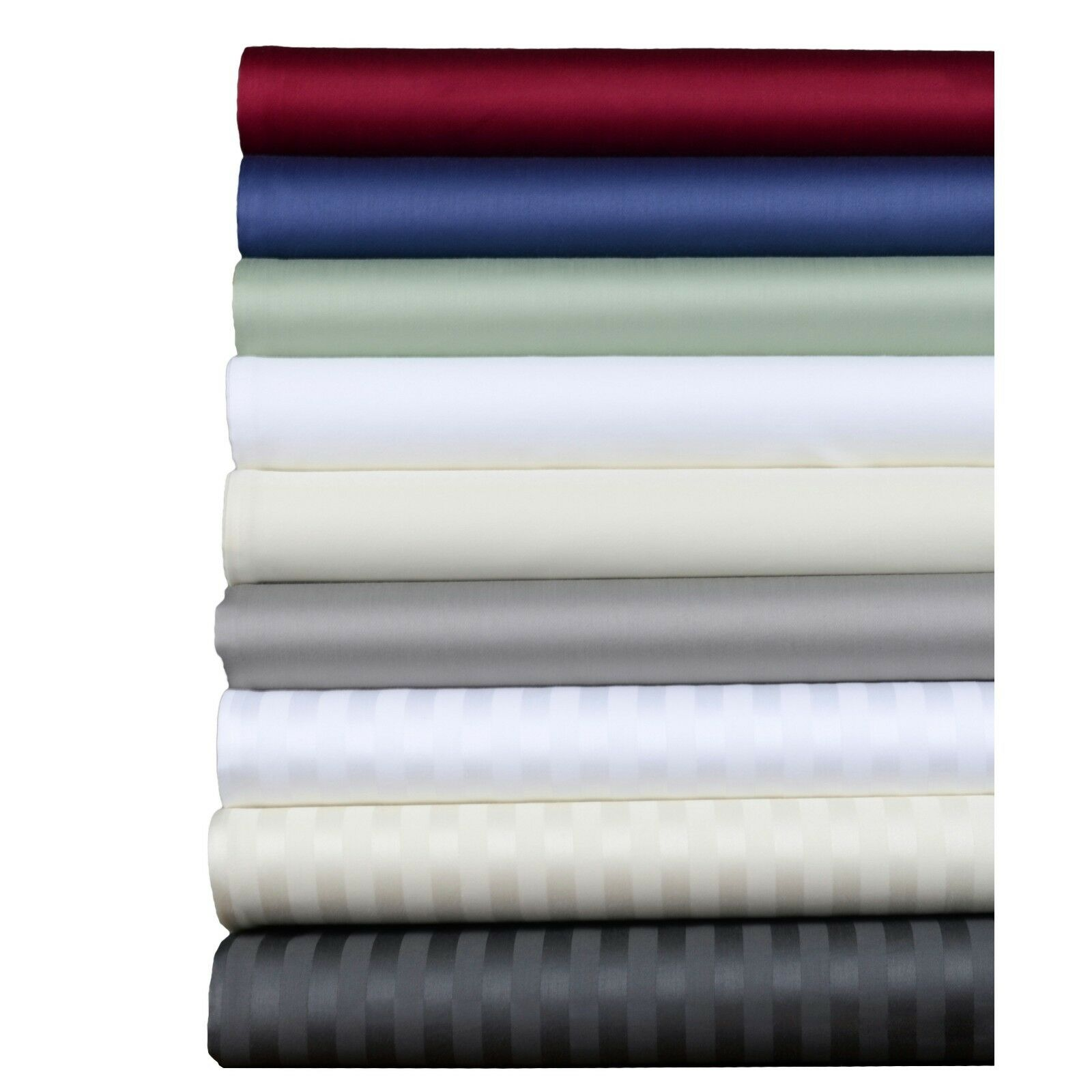 Ultra Soft 6 PCs Sheet Set 1000 TC Egyptian Cotton Queen Size Solid Strip colors