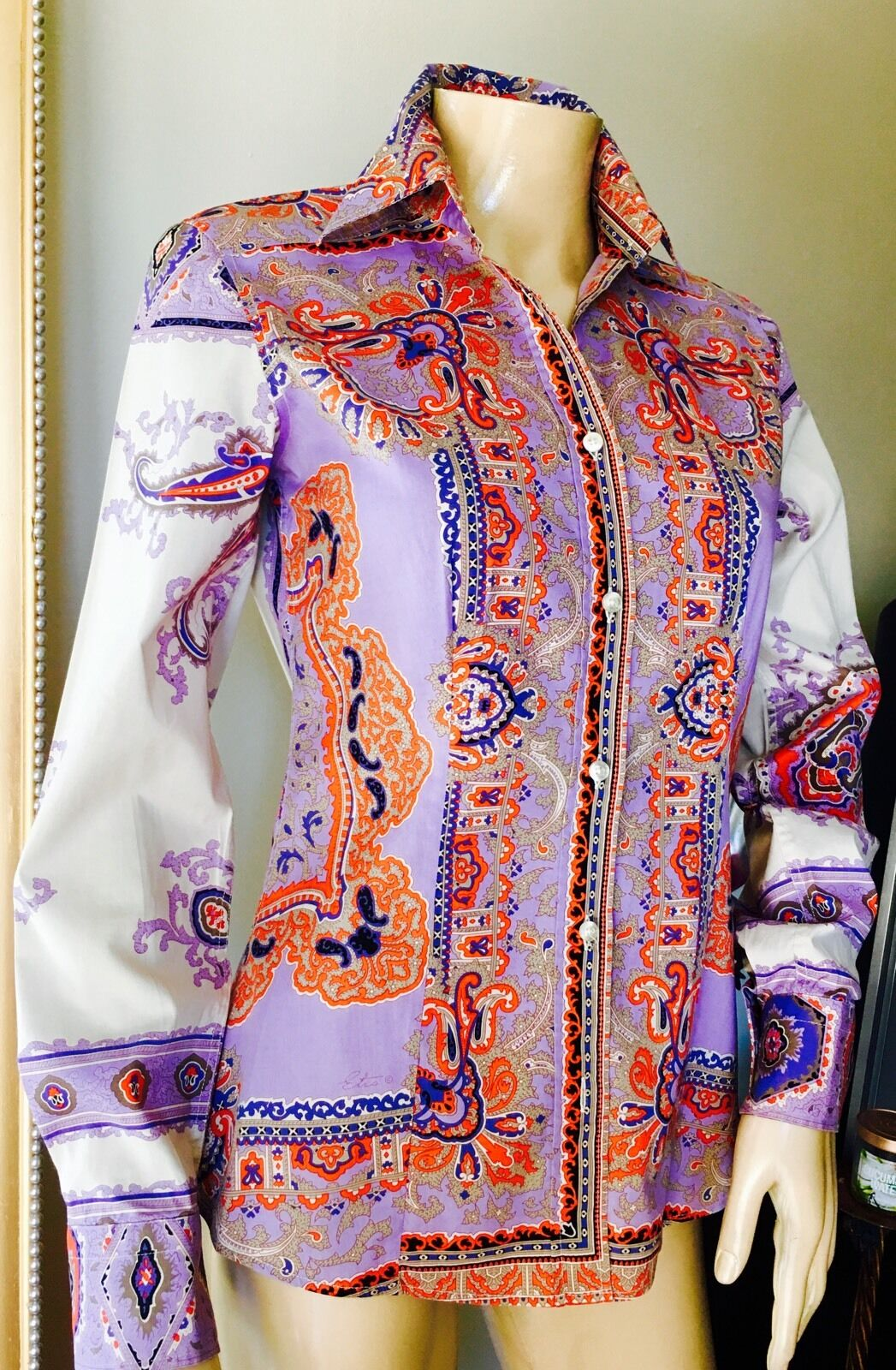 ETRO Fine Cotton Shirt lila Ivory Orange IT 38 XS
