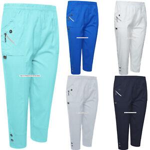 RüCksichtsvoll Ladies Cropped Trousers Women Three Quarter Soft Trendy Button Detail Capri Pant Zu Den Ersten äHnlichen Produkten ZäHlen