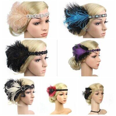 1920s Headband Rhinestone Bridal Great Gatsby 20s Flapper Headpiece Gangster UK