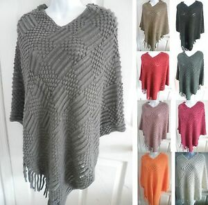 Knitting Pattern Wrap Over Cardigan : Women SOFT knitted Diamond Pattern Poncho Cape Pull Over Sweater Top Shawl Wr...