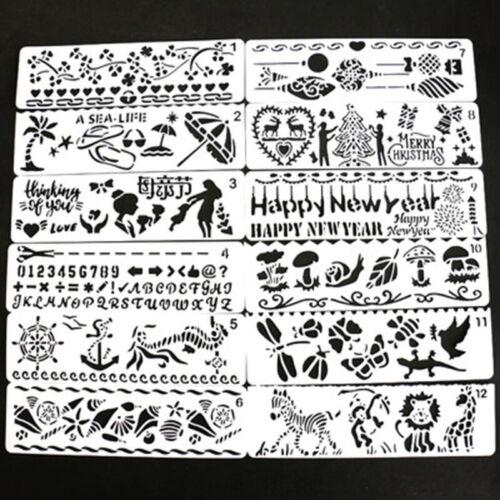 12pcs Bullet Journal Schablone Kunst Kunststoff Scrapbooks DIY Zeichnungen