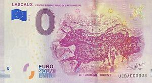 BILLET-0-EURO-LASCAUX-LE-TAUREAU-TRIDENT-2019-NUMERO-003